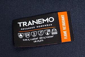 FR-emblemet viser plaggets Arc-Rating og hvilke standarder det er sertifisert for.