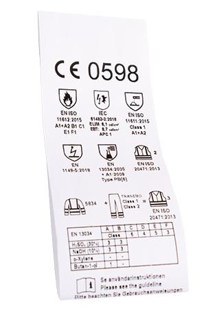 CE-merket er inne i det beskyttende plagget
